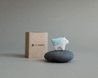 Turquoise Blue Tiny Unicorn Handmade Pin
