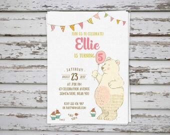 Bear Birthday Invitation, Cute Bear Invite, Bear Party, Bear Thank You favor tags, Bear cupcake toppers DIY