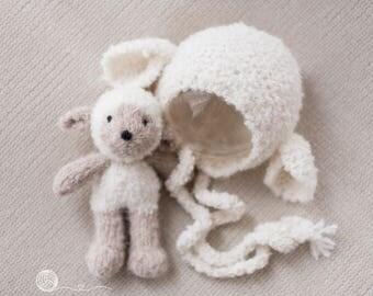 knitted lamb and matching bonnet, Newborn girl, Newborn boy, photography prop, handmade lamb, lamb bonnet