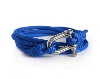 Blue & Silver, Shackle Bracelet, Sailing Rope Bracelet, Mens Bracelet, Nautical Jewellery.