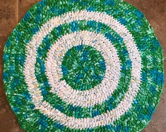 Handmade Crocheted Circle Rug, Blue, green and White