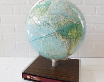 20% OFF SALE - Vintage Rand McNally World Portrait Globe on Book Stand with Book
