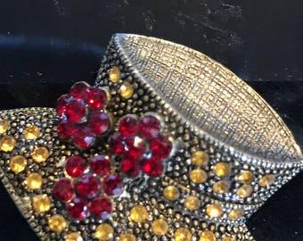 vintage hat with gem brooch