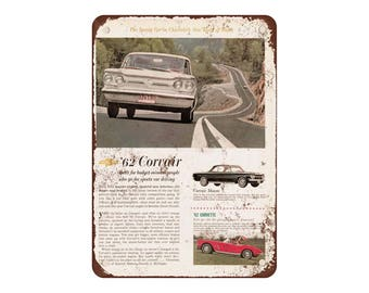 "1962 Chevrolet Corvair - Vintage Look Reproduction 9"" X 12"" Metal Sign"