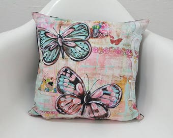 Home Accessory Pillow Cover 17x17 Butterfly Love Printed Pillow Case