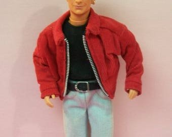 "Luke Perry 90210 Dylan Mckay Mattel Doll In Faded Jeans, Black Shoes , T-shirt, Ribbed Red Corduroy Jacket Jointed 12"" Doll Based On TV Show"