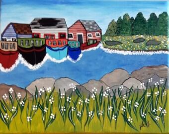 Safe, folk art painting, folk art, original art, acrylic painting, wall art, whimsical art, landscape painting, hand painted, Canadian