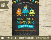 Monster Birthday Party, Monster 1st Birthday, Monster Birthday Invitation, Monster Invitation, Invite, Little Monster, KEVIN, DIGITAL FILE