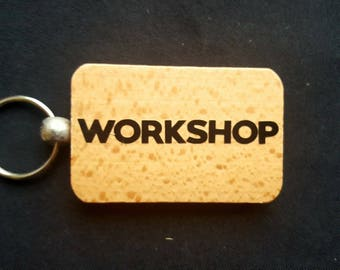 Wooden Keyring Key ring - WORKSHOP - Birthday Gifts Father's day - New Dad Wooden gifts