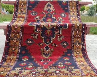 """Sweet Cr1900-1939s Natural Dyes 3'5""""×6'6"""" Turkish Tribal Rug"""