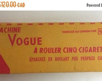 CANADA 150 SALE Rare mid century Vogue cigarette roller in original box. Vogue Roll Five Cigarette Machine. French Canadian version.