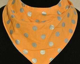 Orange with Silver Polka Dots