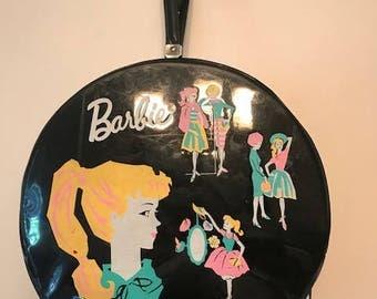 Vintage Bag- Vintage 1960s Mattel Barbie Black Vinyl Carry Case