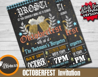 """Oktoberfest Invitation - """"OKTOBERFEST Invitation""""  German Fall Birthday Party, Beer Party Digital Invite, Bier Octoberfest Printable"""