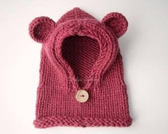 Knitted Hooded  Bear Cowl/Bear Cowl/Hooded Cowl/Kids Hoodies/Hooded Animal Cowl/Bear Hood/Knitted Bear Cowl