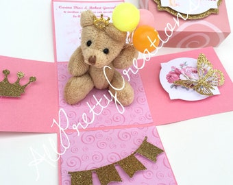 Girl baby shower invitation.  Birthday invitation. exploding box invitation invitation. 3-D explosion box invitation. Teddy bear theme