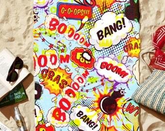 "Beach Towel ""Onomatopoeia"" 30"" x 60"""