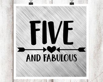 Five and Fabulous SVG/DXF/EPS file
