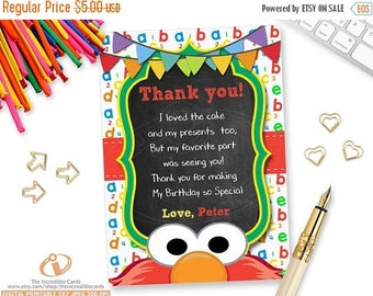 50% OFF SALE ELMO, Thank you card, Sesame Street Thank You Card, Elmo Thank you card, Cookie Monster Thank you card, Printable