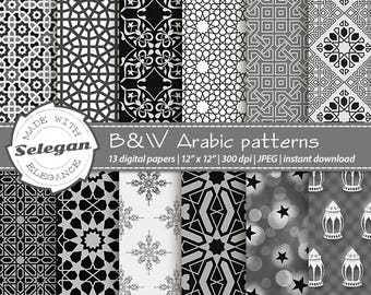 "Digital Scrapbook Paper "" Black&White Arabic Patterns "" Paper, 12x12, Printable, Pattern, Islamic, Texture, Eid, BW, Background, Download"