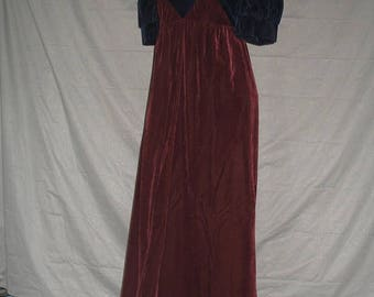 On Sale 1970's Empire Waist Velvet Burgundy & Navy Blue Formal Evening Dress Size 7
