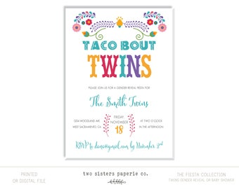 TACO BOUT TWINS Gender Reveal Invitation - Fiesta Collection - Gender Reveal Invitation - Gender Reveal Fiesta  - Baby Shower Fiesta