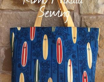 Hawaiian Tribal Surfboard Tote Bag, Beach Bag, Travel Tote