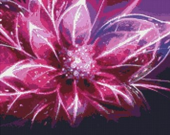 Floral Fractal Counted Cross Stitch Pattern / Chart, Instant Digital Download  (AP130)