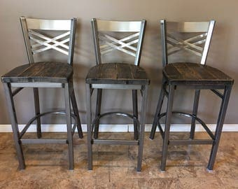 Reclaimed Bar Stool| Set of 3 | In Gun Metal Gray Metal Finish | X Back Metal | Restaurant Grade -30 Inch High Barstool