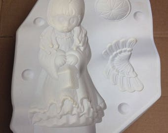 Vintage Estate Angel Figurine With Square Lantern Ceramic Mold D-363 Dona's G4