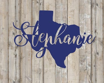 Custom Monogram Decal, STATE decal, ANY state with name in cursive font