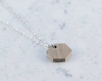 Hexagon shaped necklace made of walnut wood,