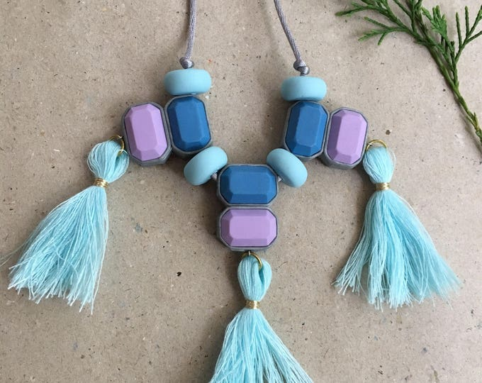 CLEARANCE  Statement polymer clay necklace// Blue and purple tassel bib necklace// Little Tusk  tassel necklace// #SN3037