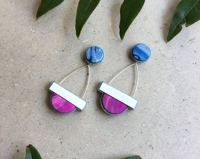 SCALE DROP STUDS// Handmade white, pink and blue marble geometric drop earrings// polymer clay staement earrings