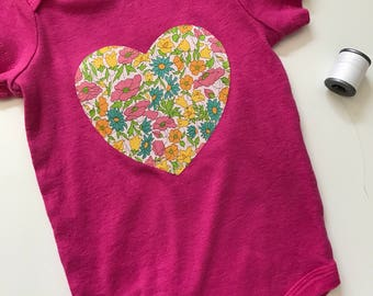 Hot Pink Bodysuit with Vintage Floral Fabric Heart Applique