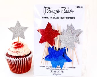 Patriotic Stars Treat Toppers | Cupcake Toppers | Baker's Dozen | 4th of July Party or BBQ | Independence Day Labor Day