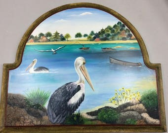 Plaque with Hooks Painted with Pelicans