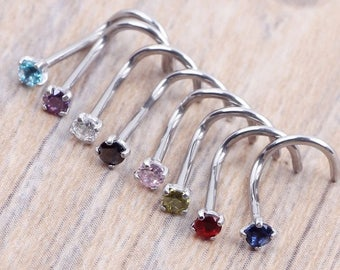 Silver  2mm Claw Set Curved Nose Stud -Choice of 8 Cubic Zirconia Colours BN