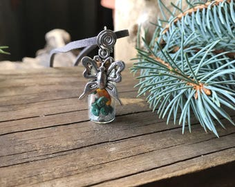 Animal totem necklace, Spirit animal necklace, Butterfly necklace, Crystal necklace, Insect