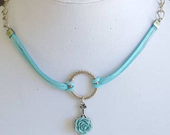 Turquoise Suede and Silver Chain Choker