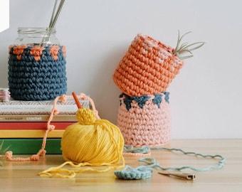 Chunky Crochet Pots Project Pattern, crochet pots, crochet pettern, digital pattern, crochet diy, illustrated patterns, multi use pattern
