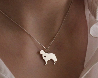 Golden Retriever necklace sterling silver dog breeds pendant w/ Heart - Love Pet Jewelry Italian chain Women Best Cute Gift Personalized