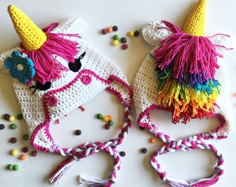 Crochet Pattern Unicorn Earflap or Beanie Hat AngelsChest - Pattern No. 71