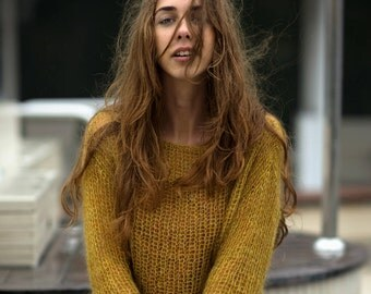 Mustard sweater, Gold sweater, Mohair sweater, Loose sweater, Casual sweater, Mohair handmade knitwear, Knitted clothing, Women's clothing