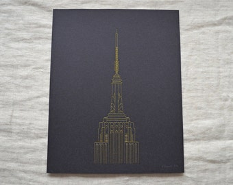 Empire State Building Wall Art Embroidery - Silver or Gold