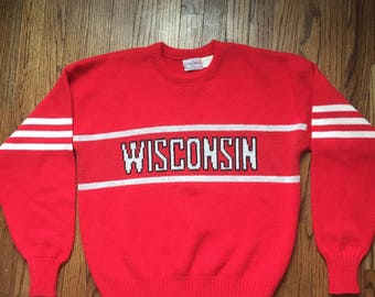 Vintage 1984 Cliff Engle Wisconsin Wool Sweater Size Adult L Large 1980's 80's
