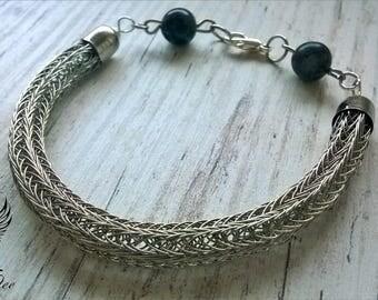 Viking knit bracelet with black / gray labradorite gemstones