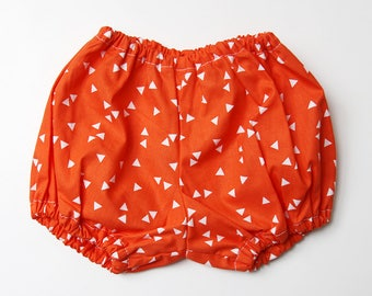 Bloomer - model ORANGE TRIANGLES 12 months - baby bloomers