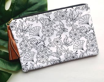 White Floral Padded Zipper Clutch
