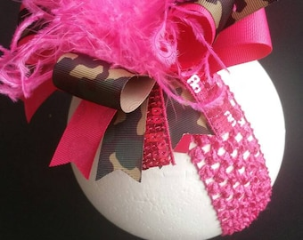 Camouflage & Hot Pink Over The Top Boutique Hairbow Headband Hairclip Ostrich Feather